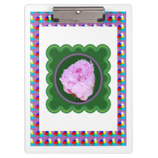 2 sides printed ACRYLIC CLIP BOARD Pin Rose Flower Clipboard