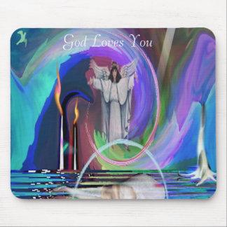 2GodIsNoFantasybywebbie, God Loves You Mouse Pad