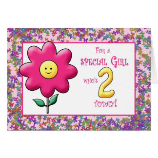2nd Birthday Cute Pink Flower and Smiley Card