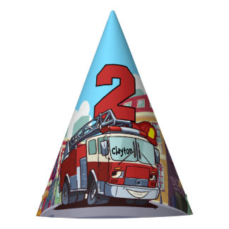 2nd Birthday Fire Truck Party Hat