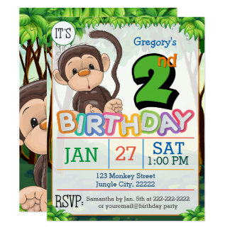 2nd Birthday Party Monkey Invitation