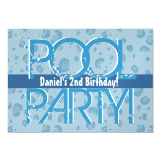 2nd Birthday Pool Party Blue Leopard Bubbles Card