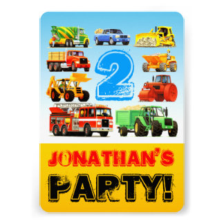 2nd Birthday Truck Party Cards
