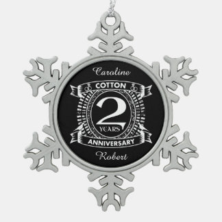 2nd wedding anniversary distressed crest snowflake pewter christmas ornament
