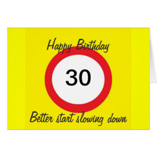 30 Road sign speed limit card