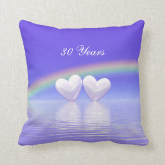 30th Anniversary Pearl Hearts Throw Pillow