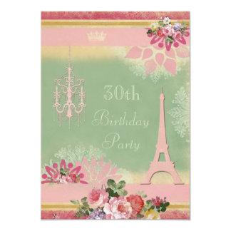 30th Birthday Pink Eiffel Tower and Chandelier 13 Cm X 18 Cm Invitation Card