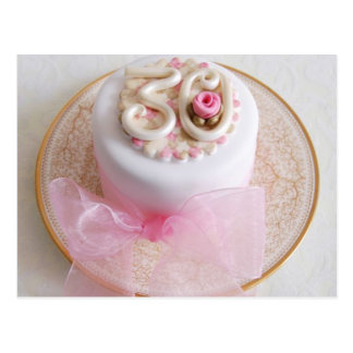 30th Celebration Pink Rose Cake Postcard