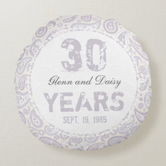 30th Pearl Wedding Anniversary Paisley Pattern Round Cushion