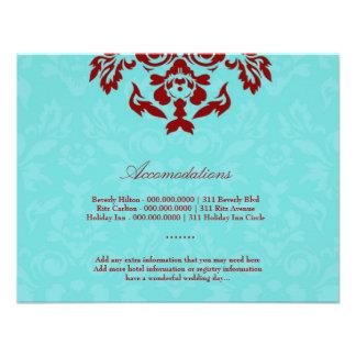 311-Aqua Blue Flame Accommodation Card Personalized Invites