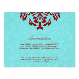 311-Aqua Blue Flame Accommodation Card Personalized Invites
