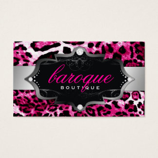 311 Baroque Boutique Hot Pink Leopard Business Card
