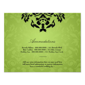 311-Black Lime Flame Accommodation Card Personalized Invite