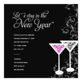 311-Damask Glass | New Years Eve Card