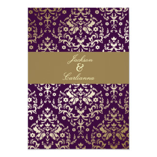 311 Dazzling Damask Gold Ivory Deep Purple Card