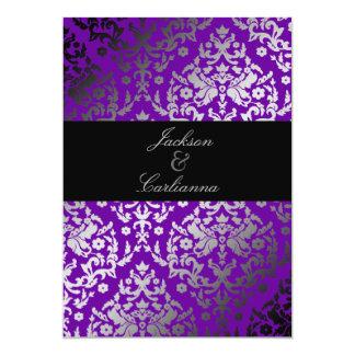 311-Dazzling Damask Vivacious Violet 13 Cm X 18 Cm Invitation Card