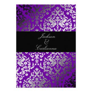 311-Dazzling Damask Vivacious Violet Invitations