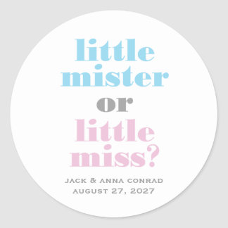 311 Gender Reveal Little Mister, Little Miss Classic Round Sticker