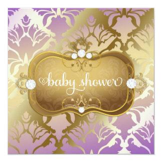 311 Glamorous Golden Lilac Damask Card