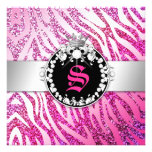 311 Glitter Queen Zebra Pink & Purple (Any Age) Personalized Invite