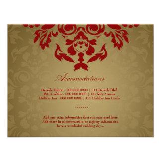 311-Golden Flame Accommodation Card Custom Invitations