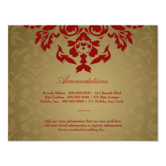311-Golden Flame Accommodation Card Custom Invitations