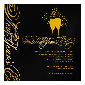 311 Golden New Year's Eve Toast Card
