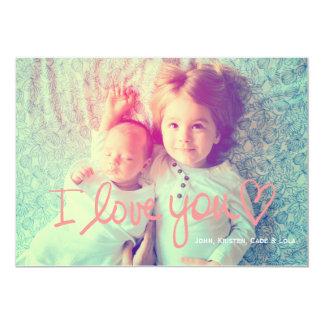 311 I Love You Peach Valentine Family 13 Cm X 18 Cm Invitation Card