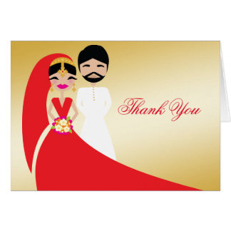 311  Indian Bride & Groom White BeardThank You Card