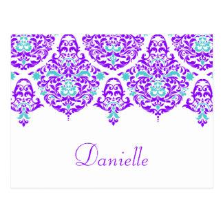 311 Mon Cherie Danielle Plum Aqua Name Card