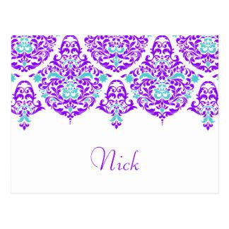 311 Mon Cherie Nick Plum Aqua Name Card