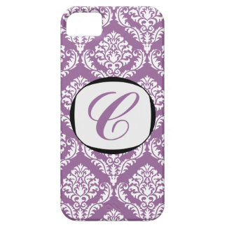 311 Purple Sugar White Damask Initial iPhone Cover