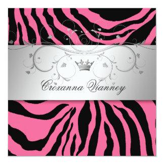 311-Silver Divine Pink Zebra Quinceanera Card