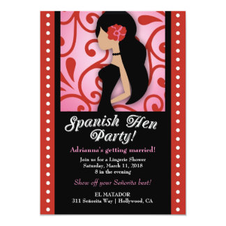 311-Spanish Hen Party 13 Cm X 18 Cm Invitation Card