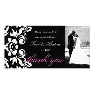 311-White Damask Wedding Thank You Photo Card