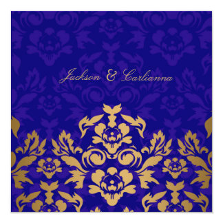 311Golden Flame Square Royal Blue Gold 13 Cm X 13 Cm Square Invitation Card