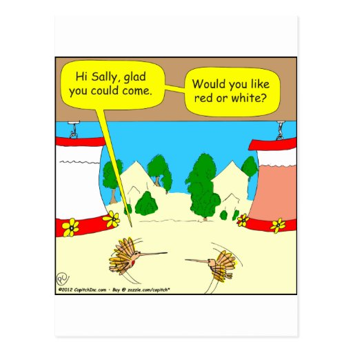 314 Red or white hummingbird wine cartoon Postcards