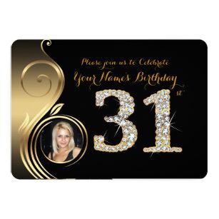 31st,Birthday Invitation,Number Diamond,Photo 2 Invitation