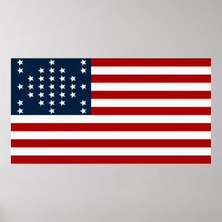 33 Star Fort Sumter American Civil War Flag Print