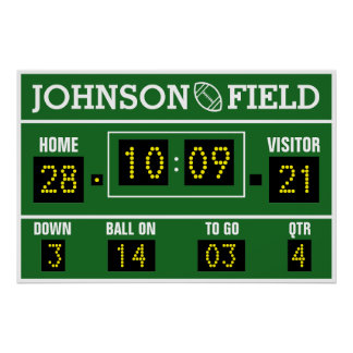 "34"" x 26"" Personalised Football Scoreboard Poster"