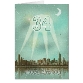 34th Birthday card with a city and spotlights