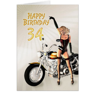34th Birthday card with a motorbike girl