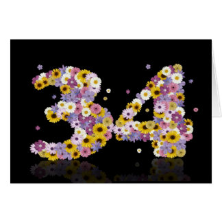 34th birthday card with flowery letters
