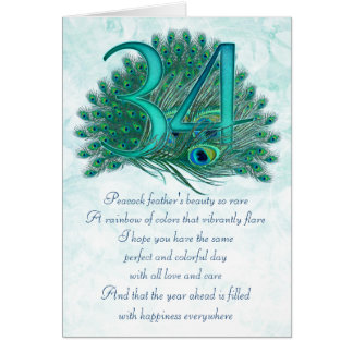 34th birthday decorative numbered cards