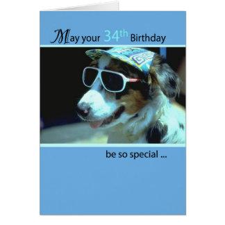 34th Birthday Dog in Funny Sunglasses Card