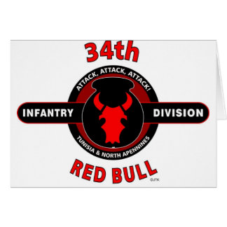 "34TH INFANTRY DIVISION"" RED BULL"" CARD"