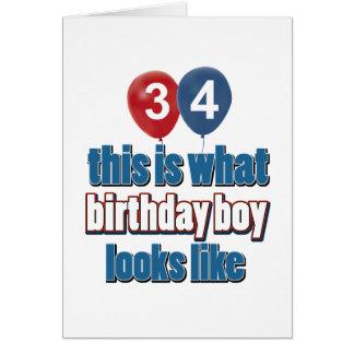 34th year old birthday designs card