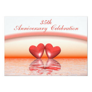 35th Anniversary Coral Hearts 13 Cm X 18 Cm Invitation Card