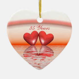 35th Anniversary Coral Hearts Christmas Ornament