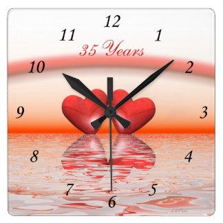 35th Anniversary Coral Hearts Square Wall Clock